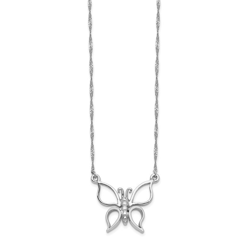 Quality Gold 14k White Gold Polished Butterfly Necklace