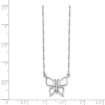 14k White Gold Polished Butterfly Necklace