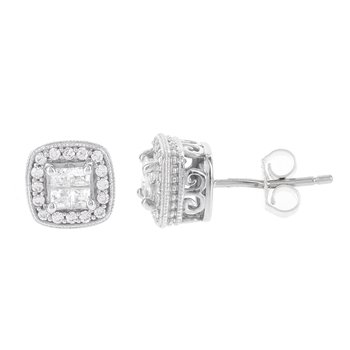 Sterling Silver 1/2ct Princess-cut Diamond Quad Earrings