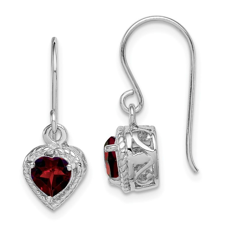 Quality Gold Sterling Silver Rhodium Garnet Small Heart Earrings
