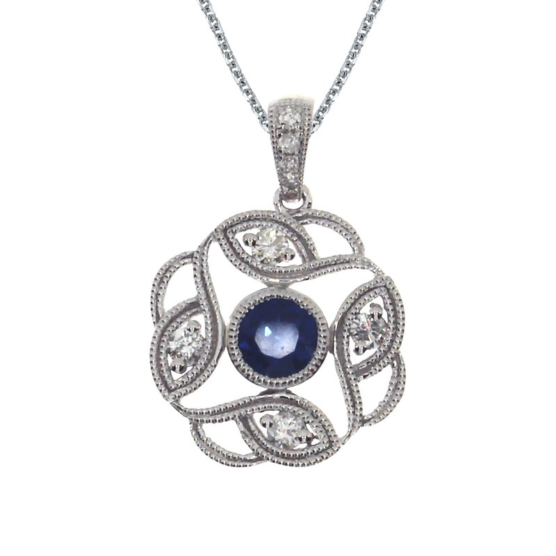 Color Merchants 14k White Gold Sapphire Open Pendant