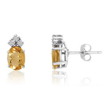 14k White Gold Oval Citrine Earrings with Diamonds