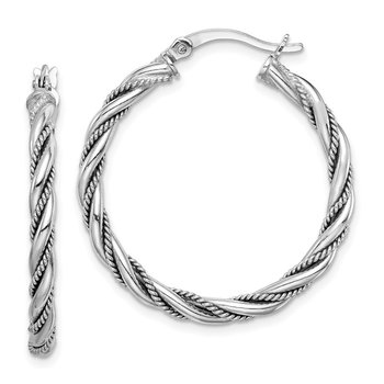 Sterling Silver Rhodium-plated 2.5x30mm Twisted Hoop Earrings