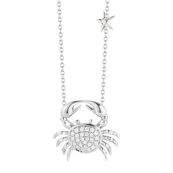 "14K Gold Crab and Diamond Necklace, 16"" Chain 1/2"" diameter"
