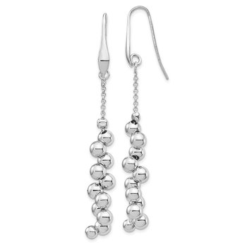 Sterling Silver Rhodium-plated Offset Beads Dangle Earrings