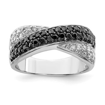 Sterling Silver Rhodium Black & White CZ Crossed Ring