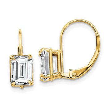 14k 7x5mm Emerald Cut Cubic Zirconia Leverback Earrings