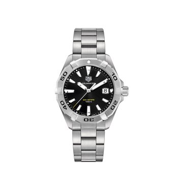 Aquaracer Quartz Watch. The 41 mm Steel Watch Has A Black Dial, Unidirectional Rotating Bezel And A Steel Bracelet With Folding Clasp And Wet Suit Extension. Model WBD1110.