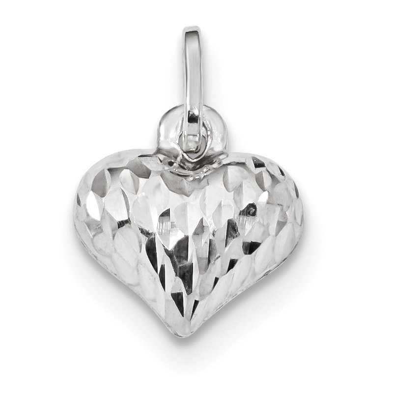 Quality Gold Sterling Silver Rhodium Plated Polished Diamond Cut Puffed Heart Charm