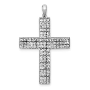 14k White Gold 1ct. Diamond Latin Cross Pendant