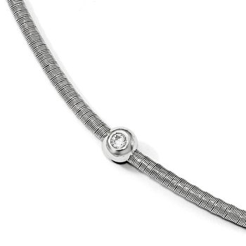 Leslie's Sterling Silver Polished CZ Necklace