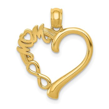 14k Polished MOM in Heart w/Infinity Symbol Pendant