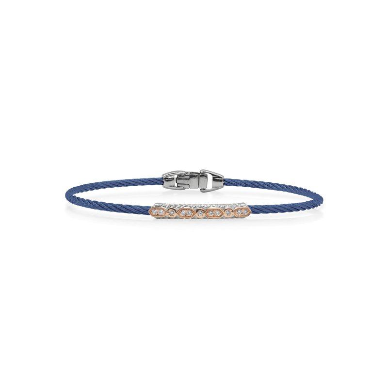 ALOR Blueberry Cable Delicate Twist Bracelet with 18kt Rose Gold & Diamonds