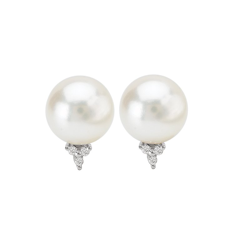 Eleganza SILVER FW CULTURED PEARL EARS.*POSTS* 8.5-9MM PEARL W/ D.04