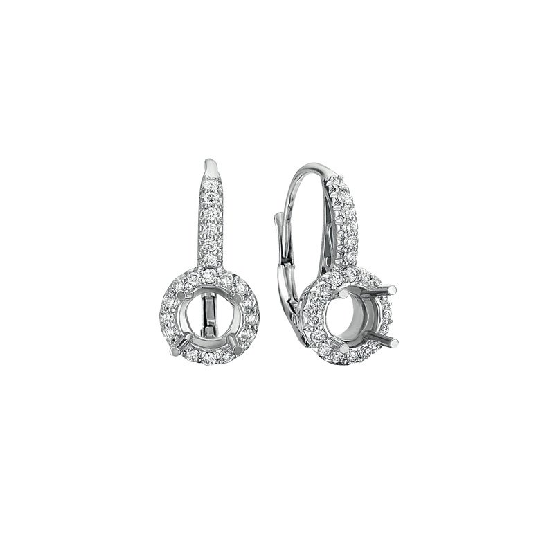 S. Kashi  & Sons White Gold Earring For 1/2ct Round stone