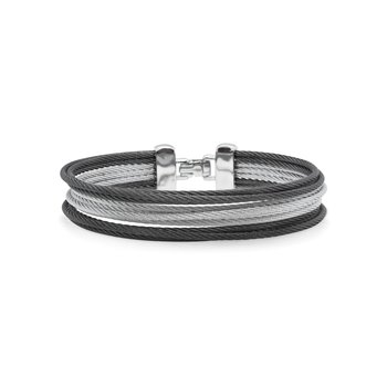 Black & Grey Cable Triple Stack Bracelet