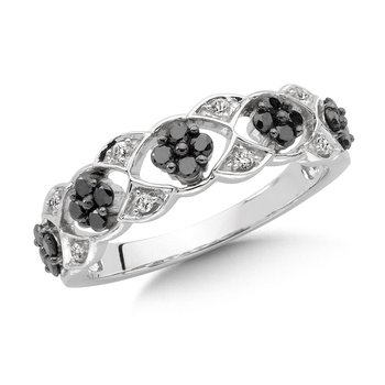 Pave set, Open Design, Black and White Diamond Fashion Ring in 14k White Gold