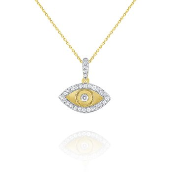 14k Gold and Diamond Evil Eye Necklace