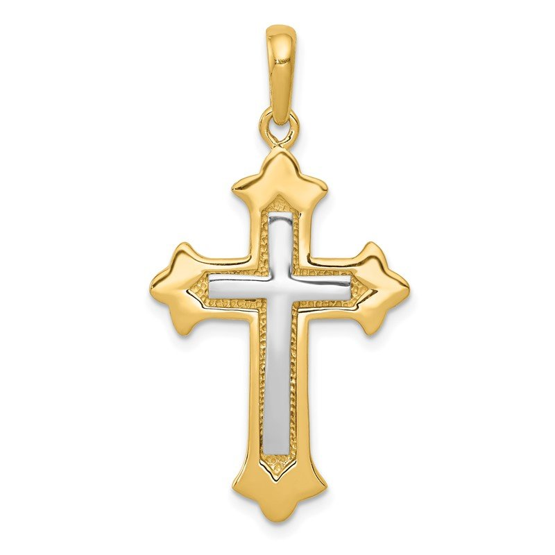 Quality Gold 14k Two-tone Fleur De Lis Cross Pendant