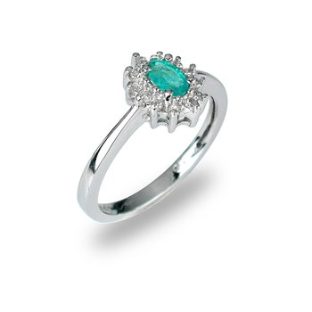 14K WG Emerald and Diamond All Purpose Ring
