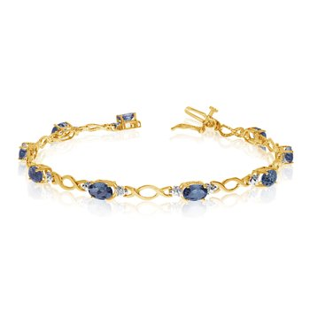 10K Yellow Gold Oval Sapphire and Diamond Bracelet