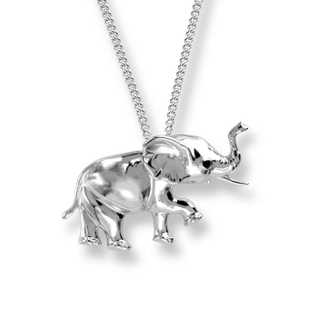 Sterling Silver Elephant Necklace -Polished.