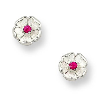 White Rose Stud Earrings.Sterling Silver-Rubies