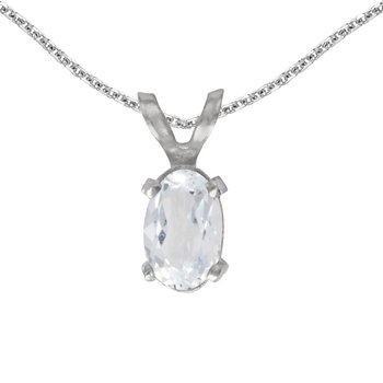 14k White Gold Oval White Topaz Pendant
