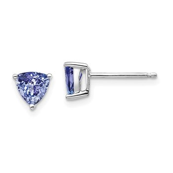 14k White Gold Trillion Tanzanite Post Earrings