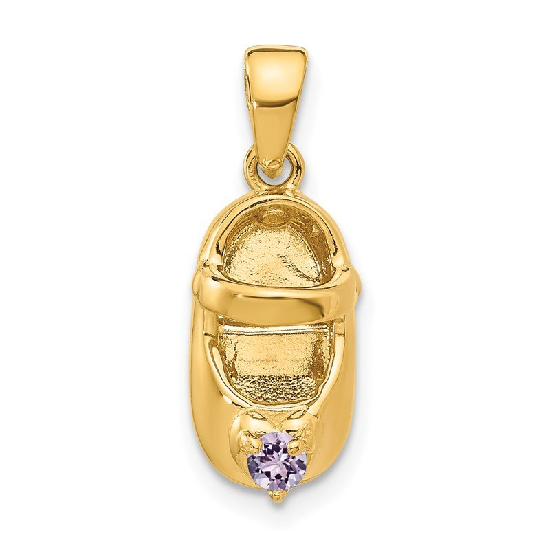 Quality Gold 14k 3-D June Synthetic Stone Engraveable Baby Shoe Charm