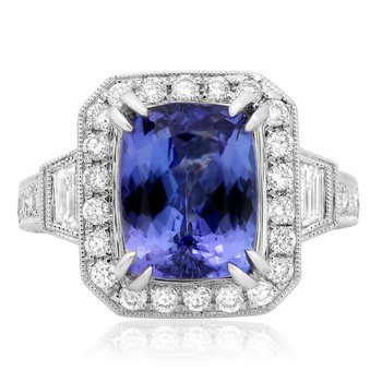 Tanzanite & Diamond Side Stone Ring