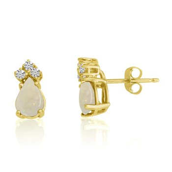 14k Yellow Gold 7X5 Pear Opal and Diamond Earrings