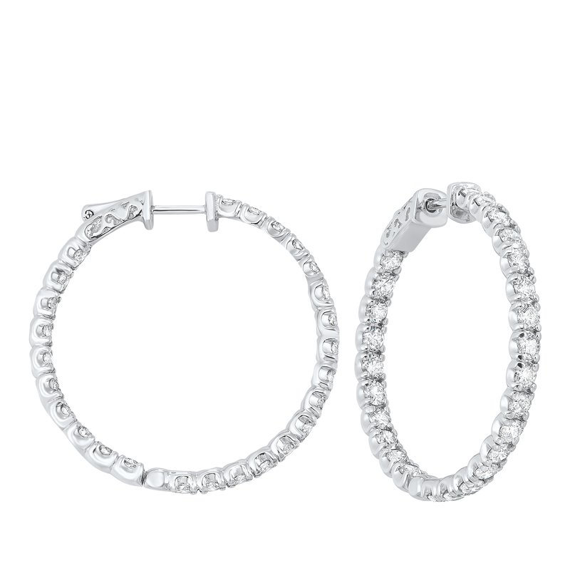 Gems One In-Out Prong Set Diamond Hoop Earrings in 14K White Gold  (5 ct. tw.) SI3 - G/H
