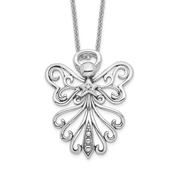 Sterling Silver CZ Antiqued Angel, Heavenly Angel 18in. Necklace
