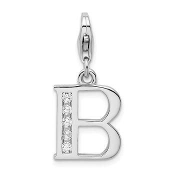 Sterling Silver Amore La Vita Rhodium-plated CZ Letter B Initial Charm
