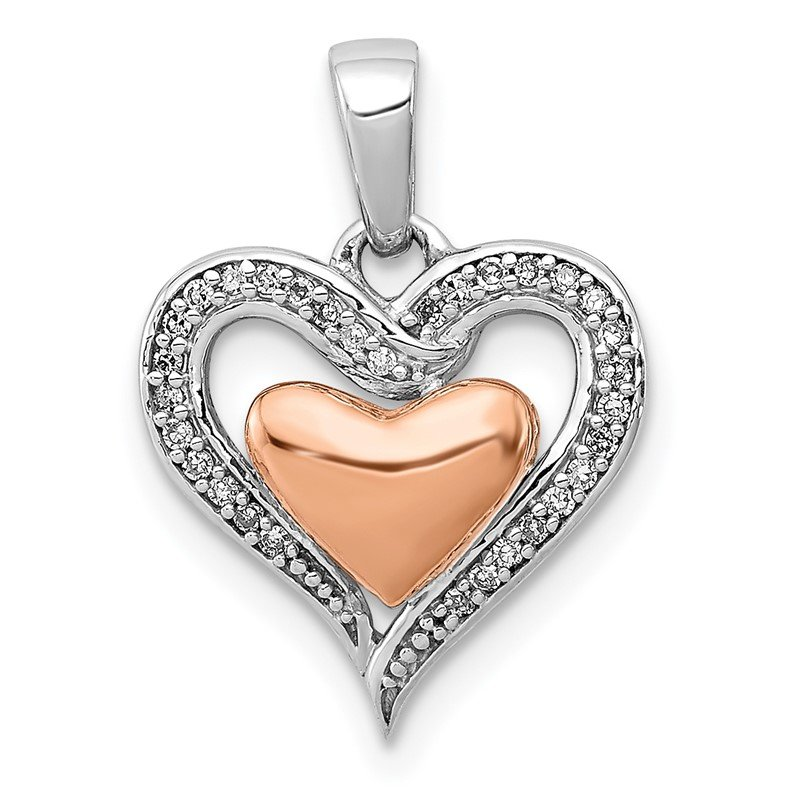 Quality Gold Sterling Silver Rhodium & 14K Rose Gold Heart Pendant