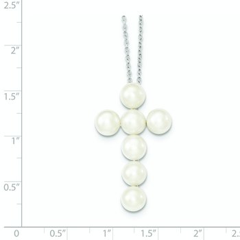 Sterling Silver Rhodium-plated 6-7mm White FWC Pearl Cross Necklace