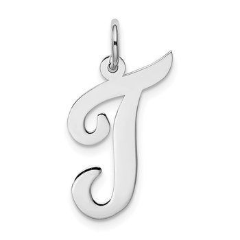 14k White Gold Large Script Letter T Initial Charm