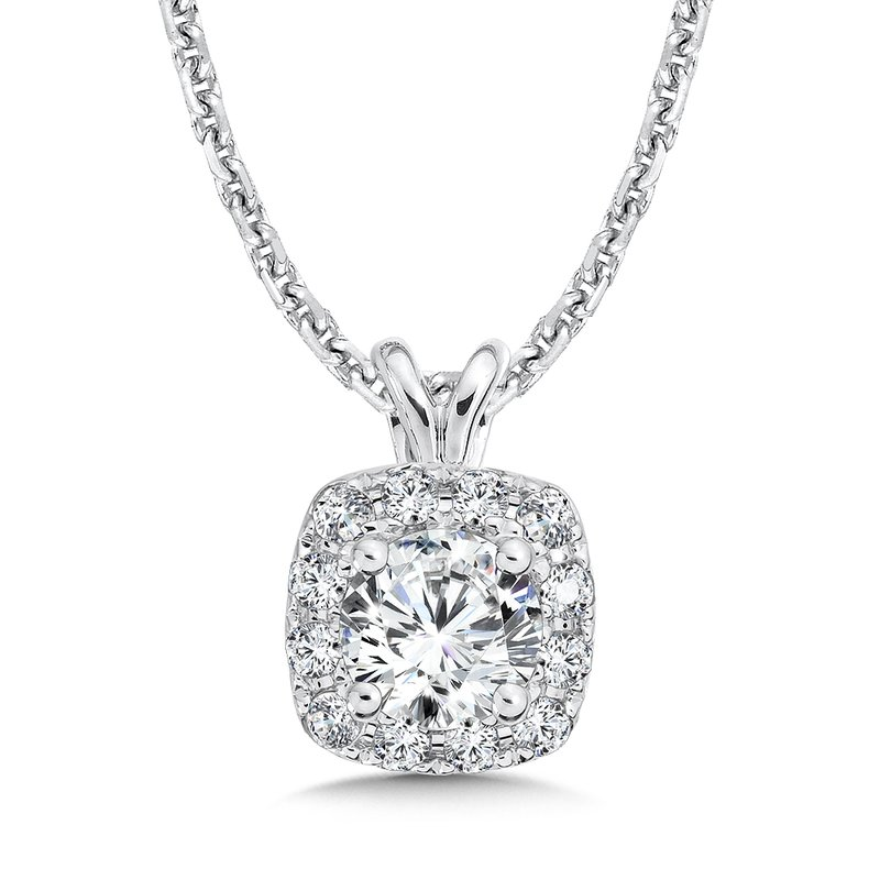Caro74 Diamond Cushion Halo Pendant with Split Bale in 14K White Gold (1/3ct. tw.)