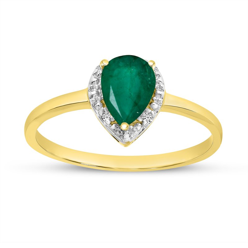 Color Merchants 10k Yellow Gold Pear Emerald And Diamond Ring