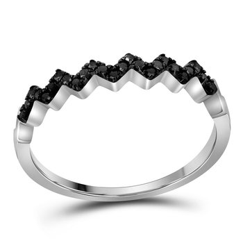 10kt White Gold Womens Round Black Color Enhanced Diamond Chevron Band Ring 1/6 Cttw