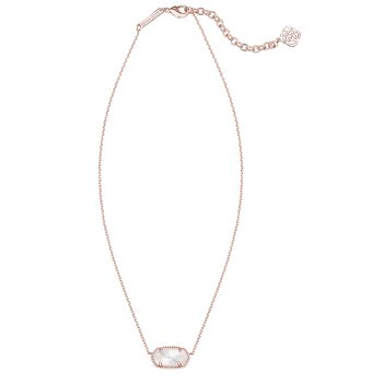 Elisa Rose Gold Pendant Necklace In Ivory Pearl