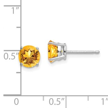 14k White Gold 6mm Citrine Earrings