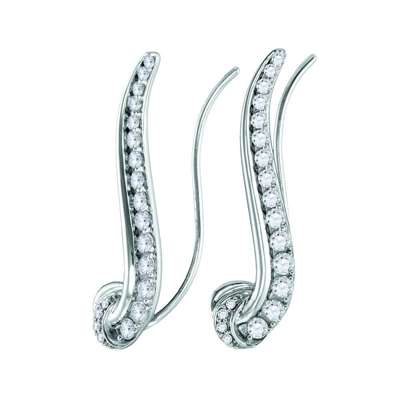 Kingdom Treasures 14kt White Gold Womens Round Diamond Curved Climber Earrings 3/4 Cttw