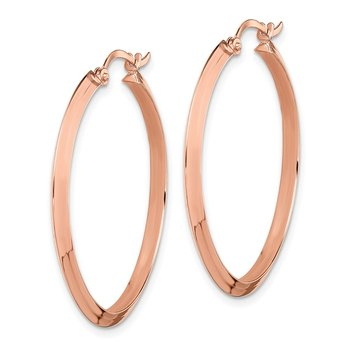 14K Rose Gold Polished Hoop Earrings