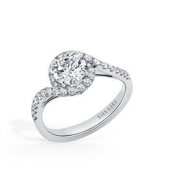 Bypass Halo Diamond Engagement Ring