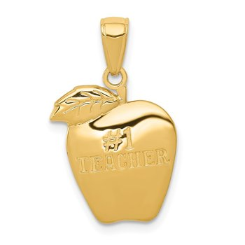 14k #1 TEACHER Apple Pendant
