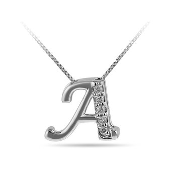 "10K WG and diamond cursive alphabet A ""Chain Sliding "" pendant in prong setting"