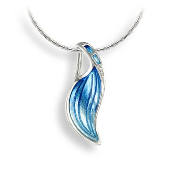 Blue Wave Necklace.Sterling Silver-White Sapphire