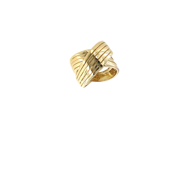 18KT YELLOW GOLD WIDE CROSSOVER RING